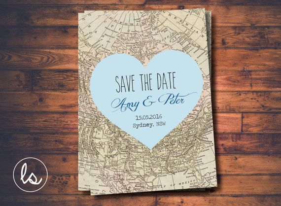 Blue Heart Save the Date Map Invitation ~ DIY PRINTABLE ~ Professional Printing with envelopes and postage included