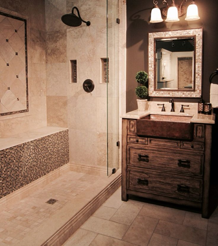10 Stunning Transitional Bathroom Design Ideas To Inspire You: A Rustic Yet Transitional Tiled Bathroom. #thetileshop