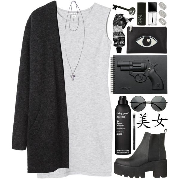 DAY WEAR - GRUNGE GUN by pretty-basic on Polyvore featuring Monki, Acne Studios, Kenzo, Givenchy, Dorothy Perkins, Advantus, Aesop, Living Proof, Illamasqua and Revolver