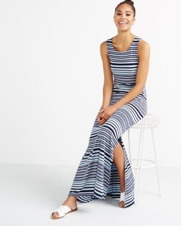 Striped Maxi Dress . Cute face , Cuter bod