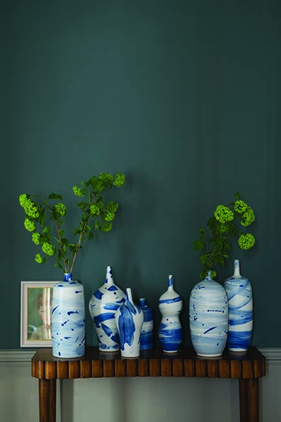 Gorgeous and dramatic feature hall in Farrow & Ball's Inchyra Blue