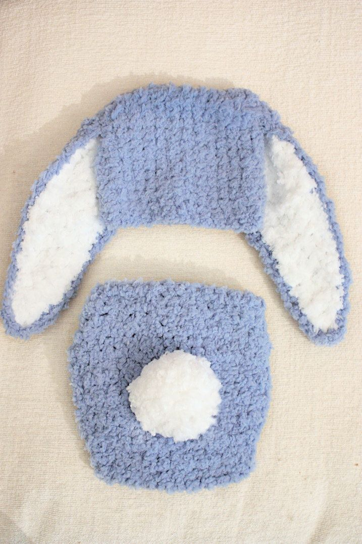 SUMMER SALE* Infant bunny hat and diaper cover set in blue with white inner ears and pom pom tail (or choose your colours). Handmade with love by Babamoon   - Size 0 to 3m -   * Can be made in a choice of colours  * Can by made in sizes Preemie to Adult.  * Order now for Halloween!  * Get 20% off! minimum order applies ->