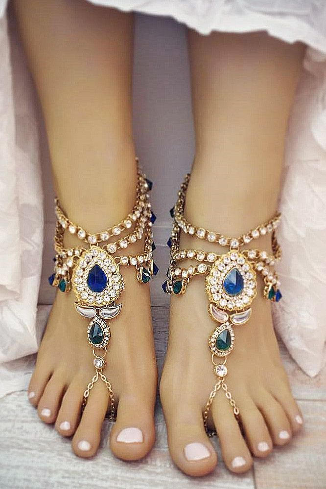 18 Beach Wedding Shoes That Inspire ❤ We would like to inspire you with awesome beach wedding shoes. Take a look at this fabulous trend - barefoot sandals with lace, pearls and rhinestones.See more: http://www.weddingforward.com/beach-wedding-shoes/ #weddings #shoes