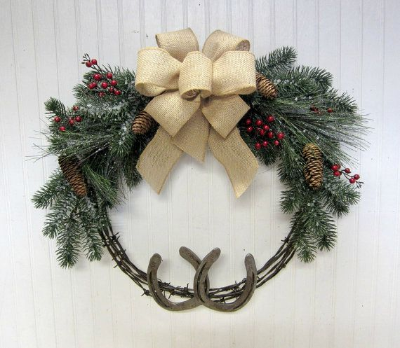 Rustic Country Western Christmas Barbed Wire Horseshoe Wreath  by SimplyCountryHome