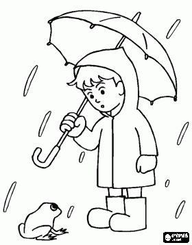 boy with his umbrella and rain jacket under the spring rain coloring page