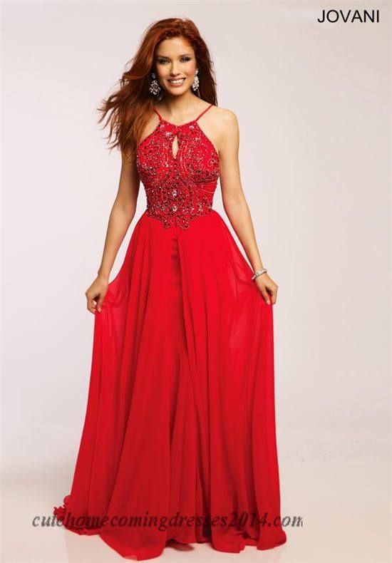 Halter Neck Jovani 92605 Long Beaded Open Back Prom Dress
