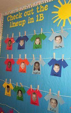 Groep 7 maakt aan het begin van het schooljaar een frisse start. Op het gele prikbord waslijnen maken. Op de t-shirts de foto's van de leerlingen plakken of leerlingen versieren hun eigen t-shirt. Vastmaken met kleine knijpertjes (kerstkaartjes).