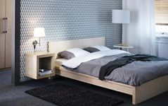 Bedroom Furniture - Beds, Mattresses & Inspiration - IKEA - Expedit square hung from the wall as a bedside table