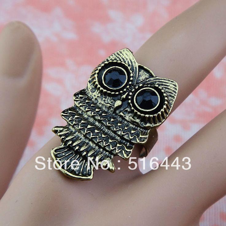 Hot Sale 10pcs Wholesale Vintage Jewelry CZ Rhinestones Retro Antique Bronze Plated Owl Rings for Women Mens Adjustable A-856 #Affiliate