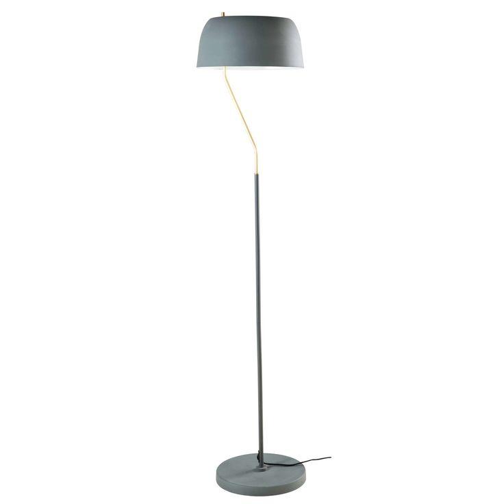 Staande lamp van olijfgroen en goudkleurig metaal H157 | Maisons du Monde
