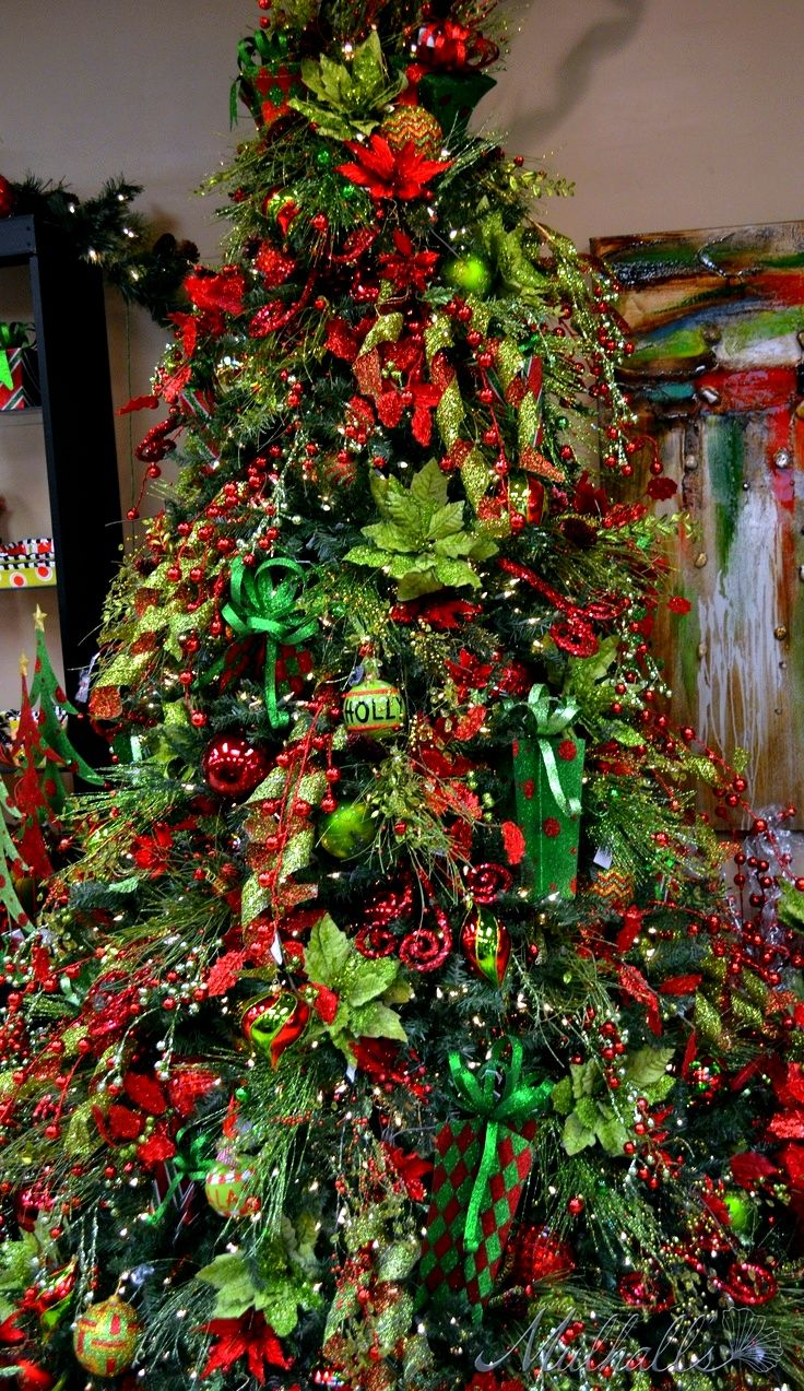 Christmas Tree Red & Green | Christmas-Lime Green and Red | Pinterest | Christmas trees, Red ...