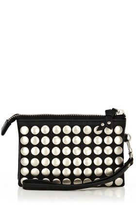 Bags Clutches | Black Studded Wrist Purse | Warehouse