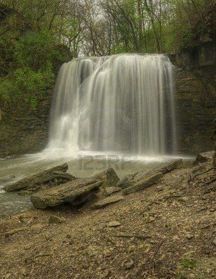 Hayden Run Falls near Dublin Ohio. Beautiful waterfall in small park.