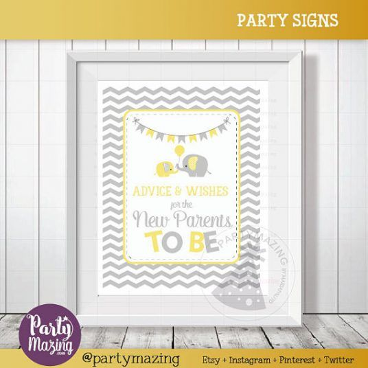 Advice and Wishes Sign, Yellow Elephant Baby Shower Chevron Sign, wishes for the new parents to be, DIY Printable, INSTANT Download D832
