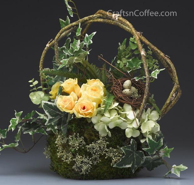 Spring basket yellow rose arrangement.