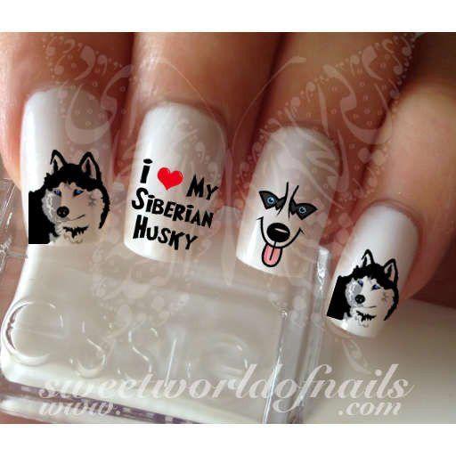 Siberian Husky Nail Art Dog Nail Water Decals Wraps