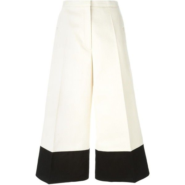Lemaire Cropped Trousers ($520) via Polyvore featuring pants, capris, white, high waisted trousers, white high waisted trousers, wide leg cropped pants, white pants and wide-leg trousers