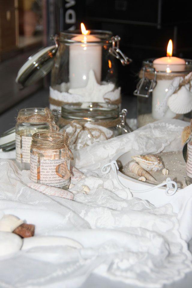 Hochzeit, wedding decoration, Strand, Meer, maritime Hochzeit, Strandhochzeit, Country wedding, vintage, Muscheln, Sand, shabby decoration, Windlicht, DIY, Teelicht, Herz, Juteband