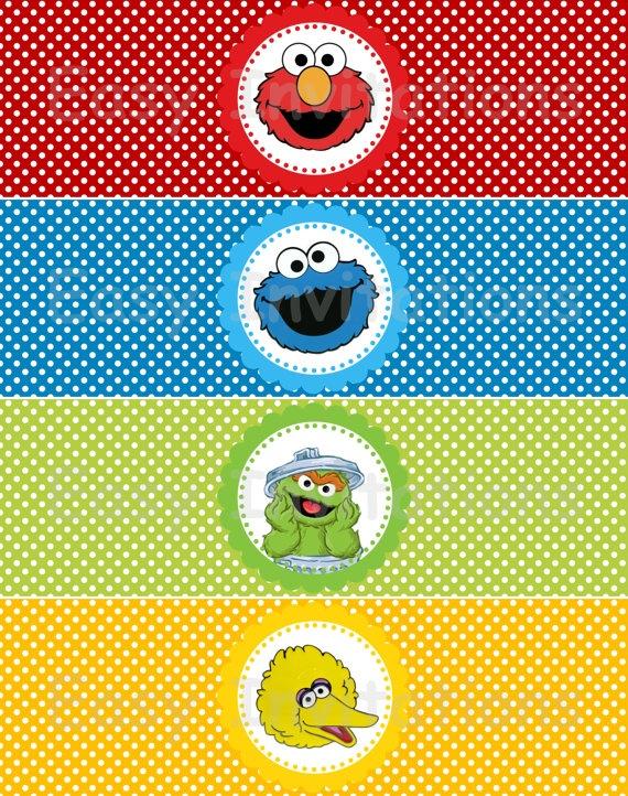 Sesame Street Gang Water Bottle Labels/Wraps by easyinvitations, $3.99