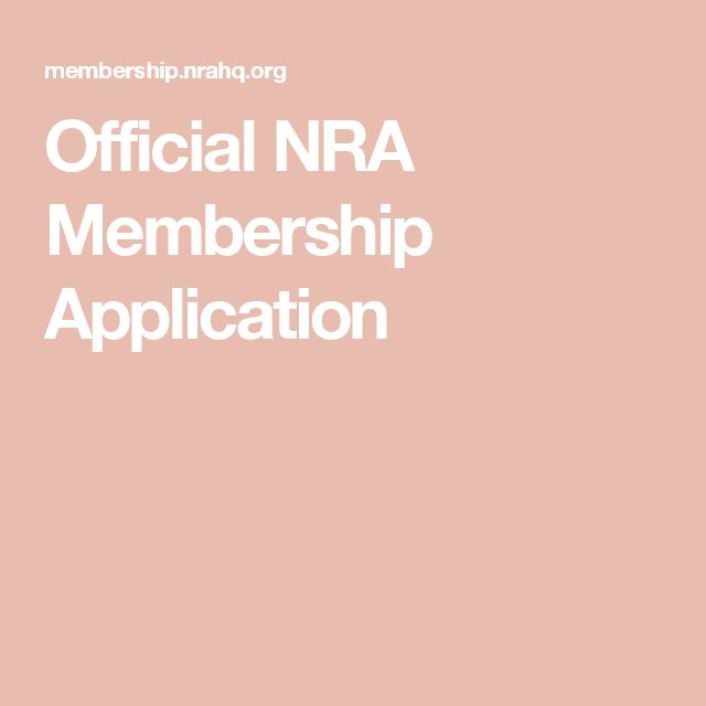 Official NRA Membership Application
