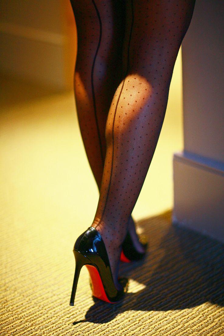 Dot back seam stockings, Christian Louboutin Pigalles
