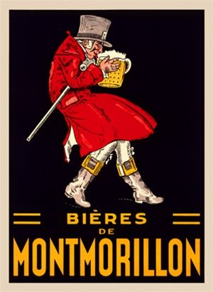 Bieres de Montmorillon Belgium 1920 - Beautiful Vintage Poster Reproductions. This vertical Belgium wine and spirits poster features a man in a red coat and top hat sneaking of with a giant mug of beer. Giclee Advertising Print. Classic Posters