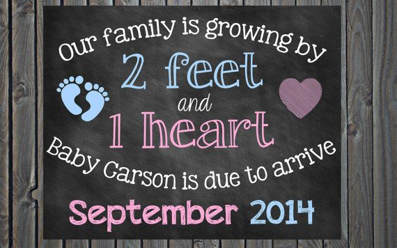 Custom Printable Chalkboard Pregnancy Announcement Pregnancy Reveal