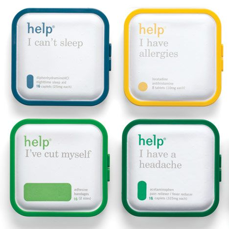 Help Remedies by Pearlfisher-great graphic and product design. Unique concept for medication: the symptom/problem is listed before the name of the medication.