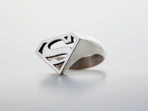 Superman ring mens ring Comics jewelry super hero jewelry
