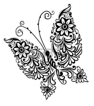 fleur peinture: peinture papillon, élément de conception abstraite tourbillon