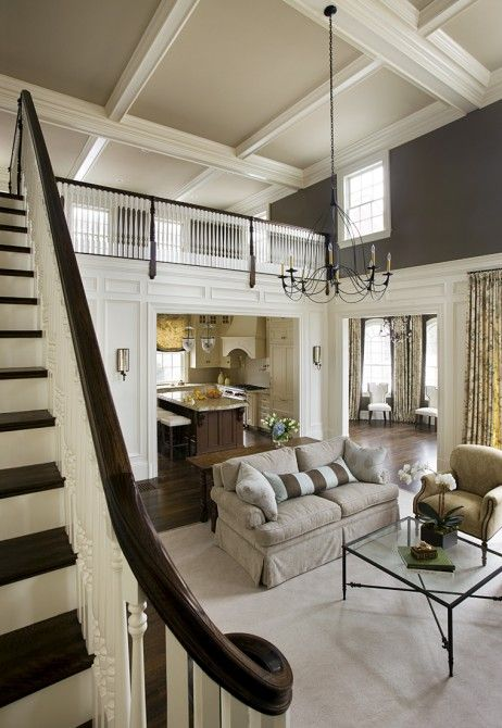 Grand Fireplace W Vaulted Ceilings Beams Open Floor: 8 Best Ideas About Two-tone Staircase On Pinterest