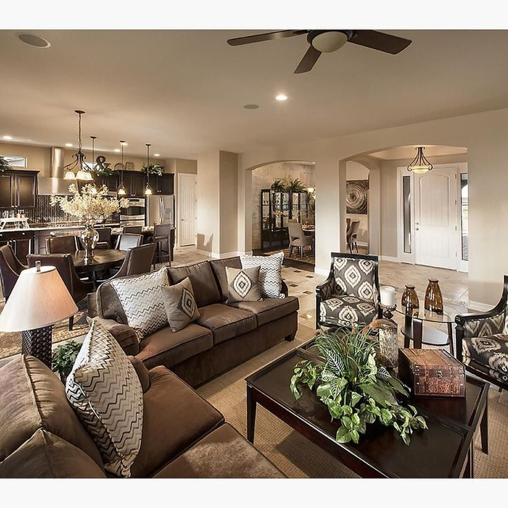 What are your thoughts on this open layout and design? By Maracay Homes Design. A lot of you have asked how to design around brown furniture especially brown couches. Here some inspiration for you. - Home Decor is the best.