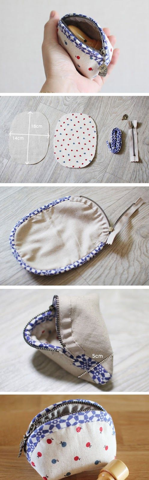 Rounded Zipper Pouch - Sewing Pattern & Tutorial; case,  coin purse, DIY  http://www.handmadiya.com/2016/10/small-coin-purse-tutorial.html