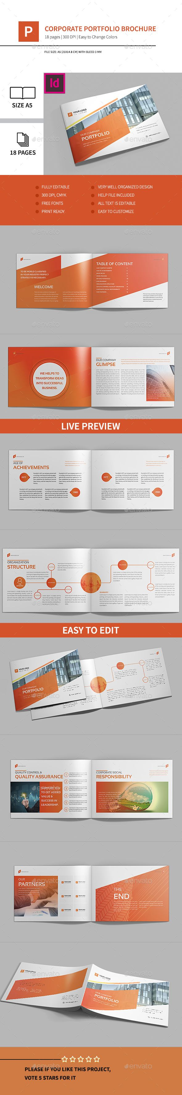 Corporate Portfolio Brochure 18 Pages A5 horizontal Template InDesign INDD #design Download: http://graphicriver.net/item/corporate-portfolio-brochure-18pages-a5-horizontal/13462326?ref=ksioks