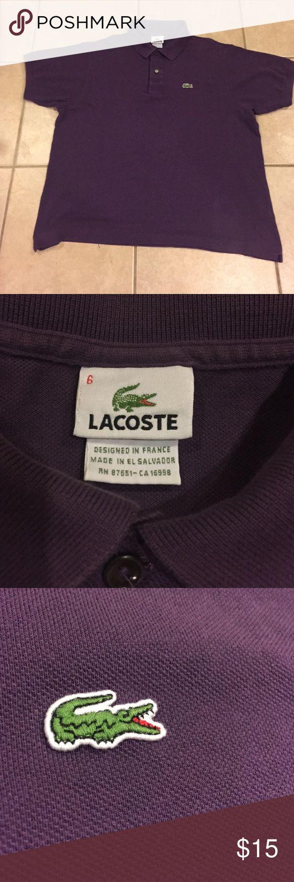 Men's Lacoste Polo shirt size 6 (large) EUC mens lacoste polo shirt size 6. (Large) purple plum. Lacoste Shirts Polos