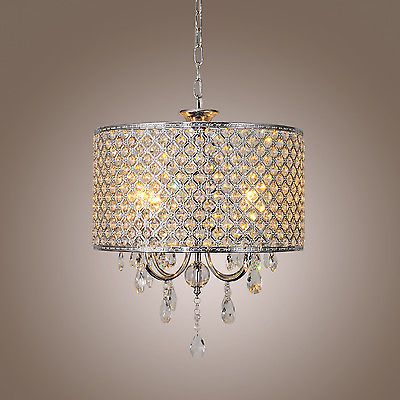 Modern 4Light Crystal Chandelier Drum Shade Pendant Lamp Home Ceiling Lighting U