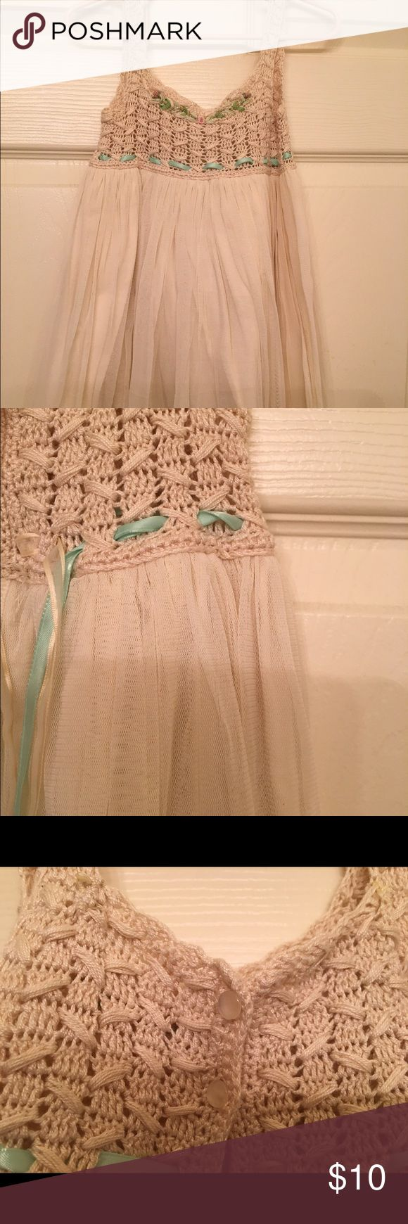 Victoria's kids crochet tutu dress Champagne empire waist baby Tule dress with crotchet top. victoria kids Dresses