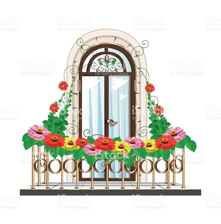 balcony with flowers royalty-free stock vector art