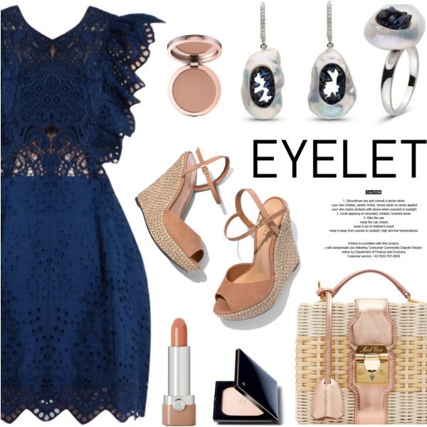 Peek-A-Boo: Eyelet by littlehjewelry on Polyvore featuring moda, Schutz, Mark Cross, Clé de Peau Beauté, Marc Jacobs, StyleNanda, eyelet, contestentry, pearljewelry and littlehjewelry