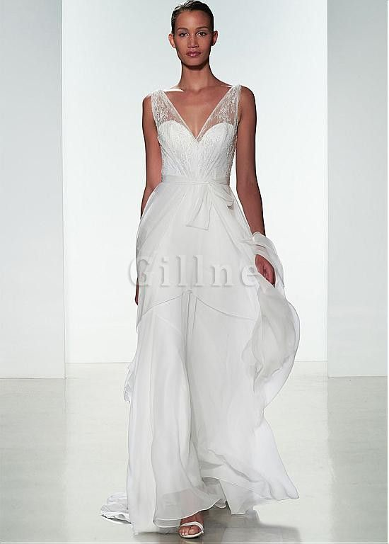 Robe de mariée moderne avec décoration dentelle ligne a avec chiffon v encolure