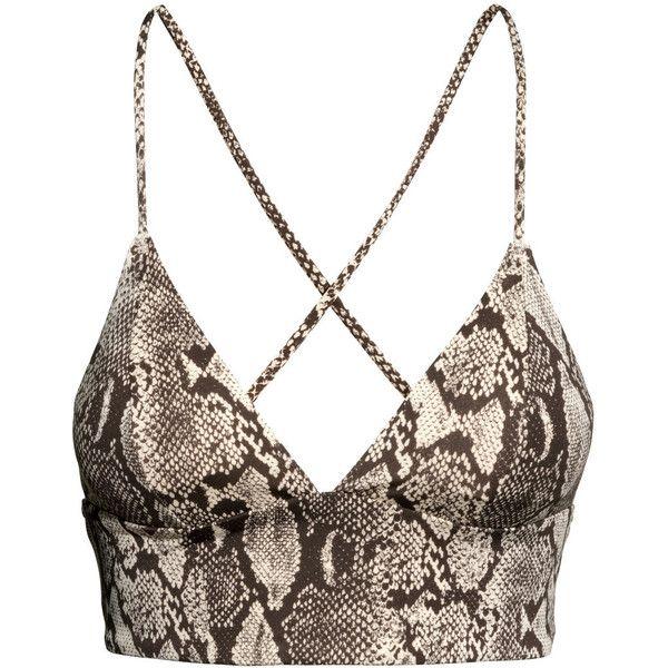 H&M Bikini top ($3.04) ❤ liked on Polyvore featuring swimwear, bikinis, bikini tops, tops, bikini, crop top, shirts, h&m, snakeskin print and crop bikini
