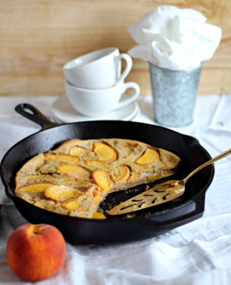 How to make a Chai Peach Clafoutis from If Looks Could Kale #French #Dessert #Summer #Fall #WeightWatchers