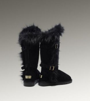 UGG Fox Fur Tall 1984 Black Boots For Sale In UGG Outlet - $152.06