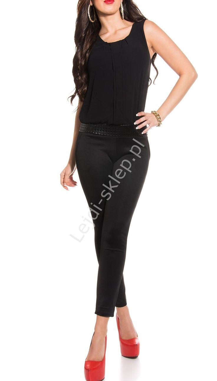 Czarny kombinezon damski - szyfonowa bluzka | czarne kombinezony damskie