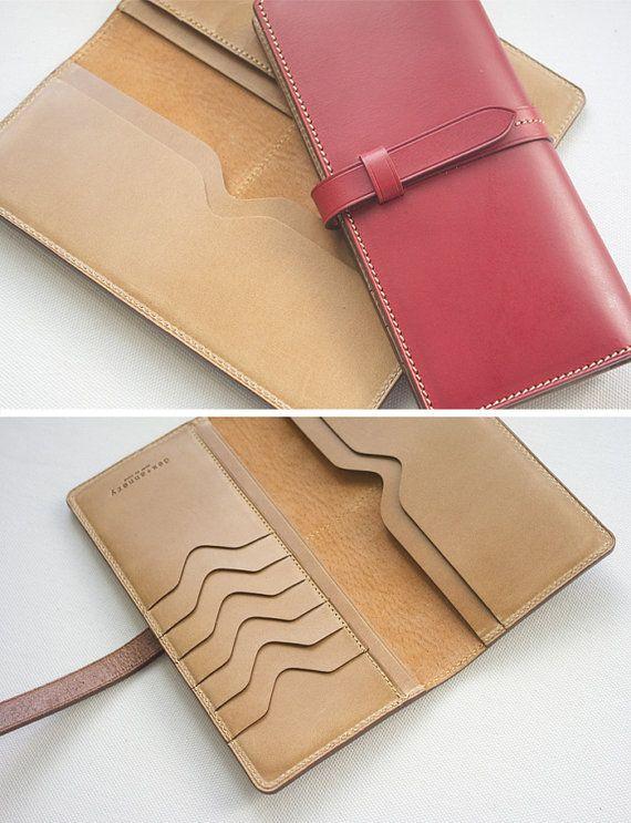 Handmade Women's long wallet clutch leather strap by dextannery