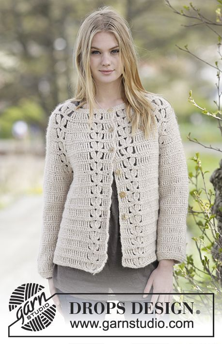 """Priscilla Cardigan - Crochet DROPS jacket with raglan and lace pattern in """"Air"""". The piece is worked top down. Size: S - XXXL. - Free pattern by DROPS Design"""