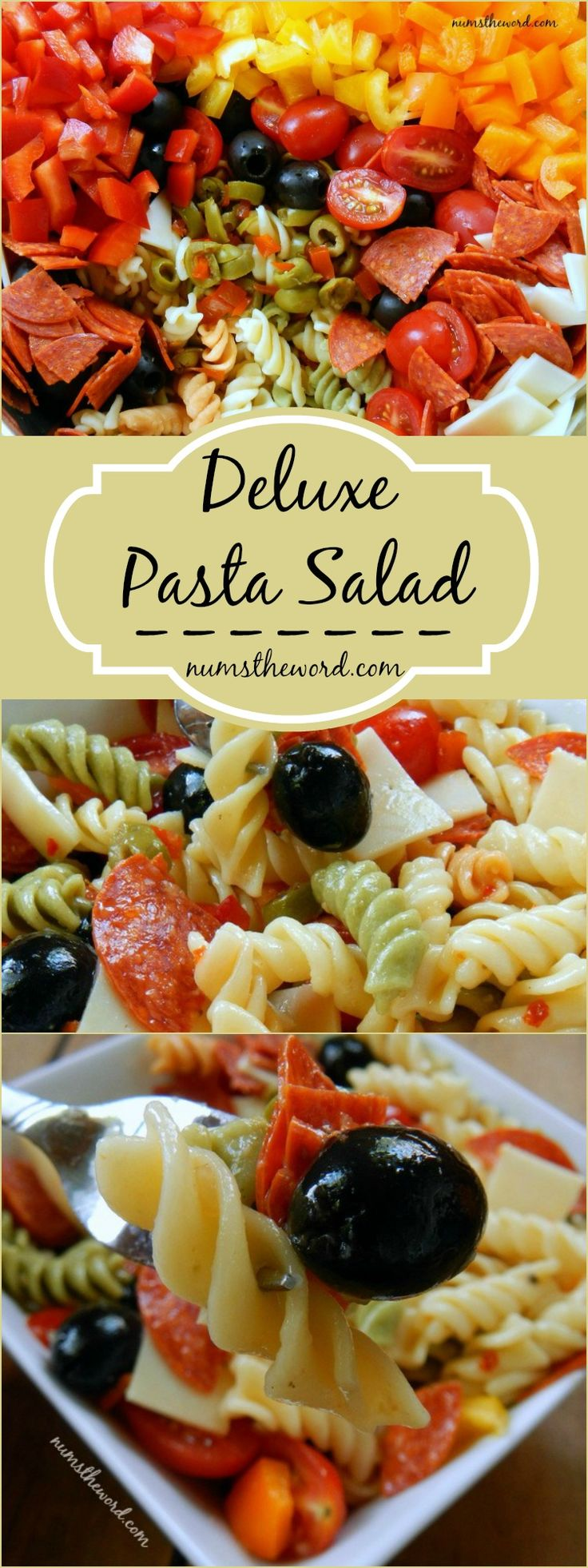 If you love pasta salad, then try this deluxe version. Hearty, tasty and oh so yummy! Great for any potluck, picnic or lunch and makes great leftovers too!