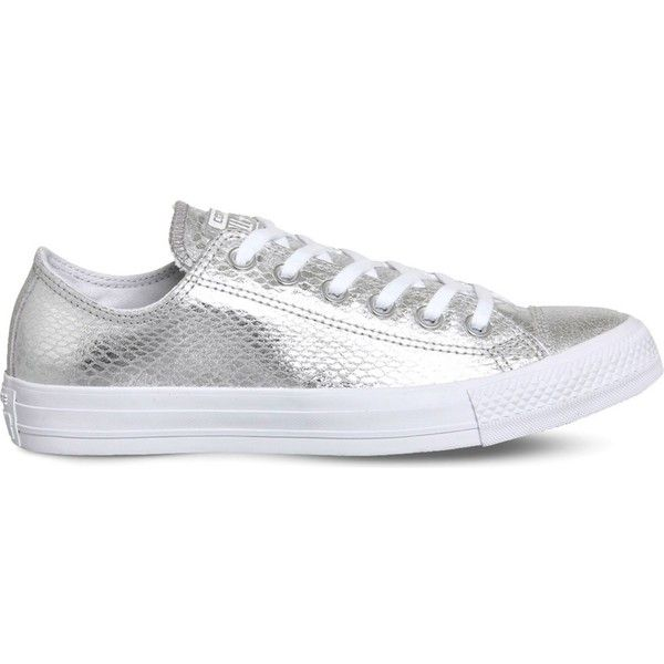 Converse All Star snake-embossed metallic trainers ($63) ❤ liked on Polyvore featuring shoes, sneakers, converse shoes, low top, eyelets shoes, metallic shoes and converse footwear