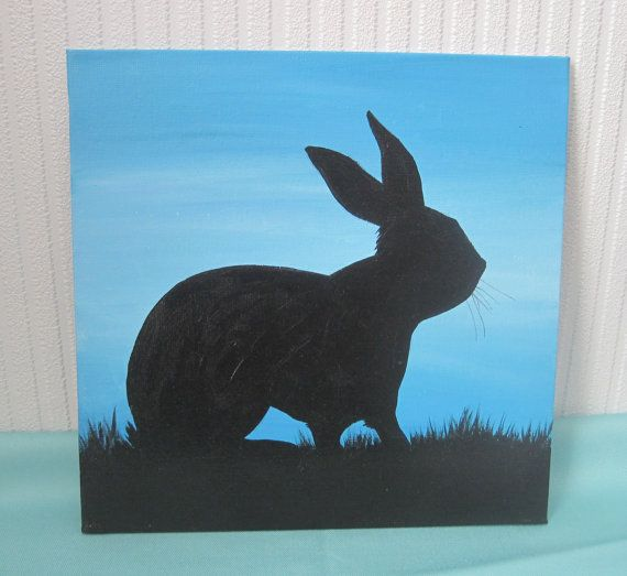 Original acrylic painting Rabbit silhouette by DandelionsGallery