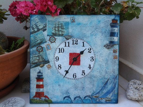 Wall clock Sailing  Shabby Chic  Decoupaged home by Blowart, €33.00